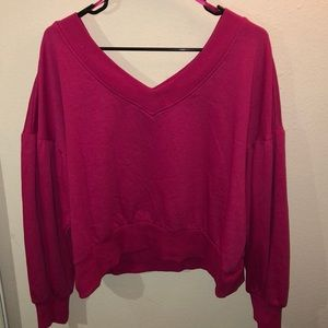 Pink v-neck cropped sweater
